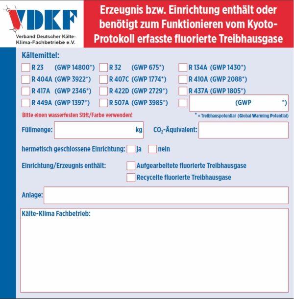 Kennzeichnungsetiketten (FKW oder H-FKW)